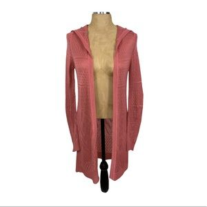Pink Rose Hooded Open Knit Cardigan